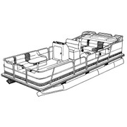 Cover Fits Pontoon with Bimini Top and Rails that Fully Enclose Deck