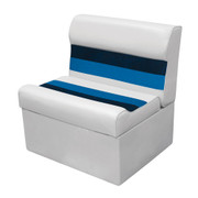 "Wise Deluxe Pontoon 28"" Bench Seat in White/Navy/Blue"