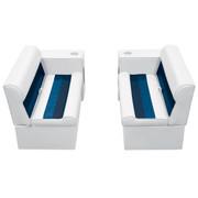 "Wise Deluxe Pontoon 36"" Bench & Arm Rest Set in White/Navy/Blue WS13530"