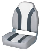Wise Classic High Back Folding Fishing Boat Seat in Grey/Charcoal/White WD1062LS