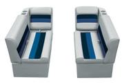 "Wise Deluxe Pontoon Furniture 37"" Bench Seat & Recliner Set in Grey/Navy/Blue WS13528"
