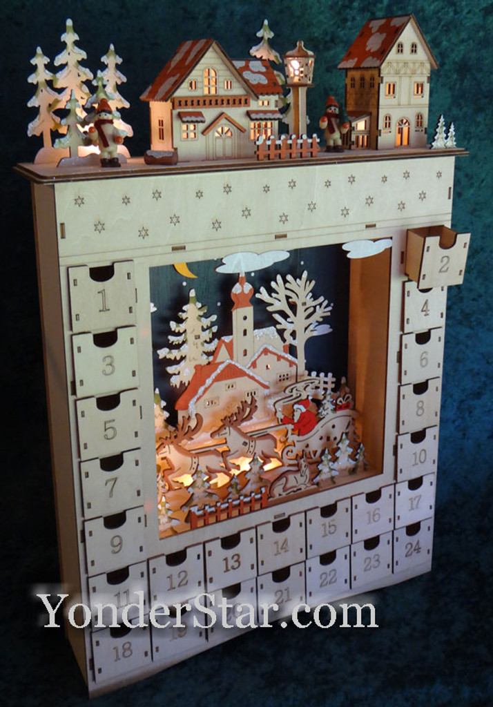 Lighted wooden Advent calendar.