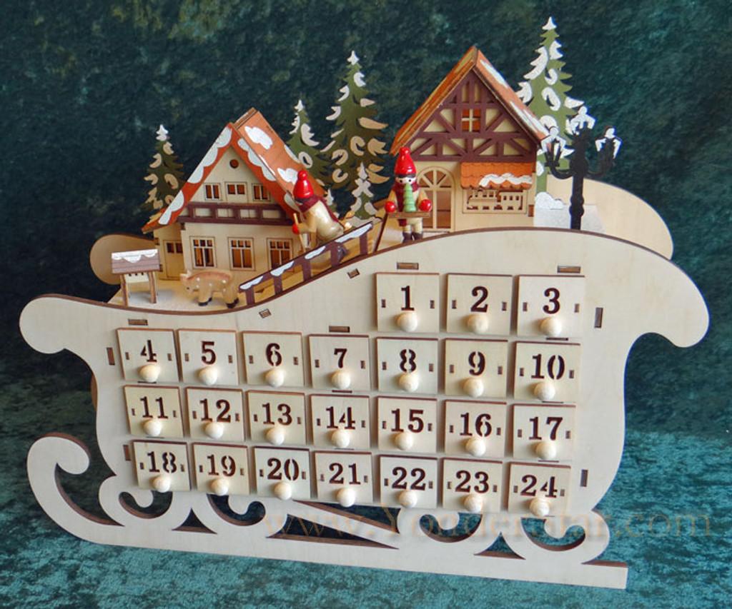 Lighted Wooden Advent Calendar - Sleigh Ride