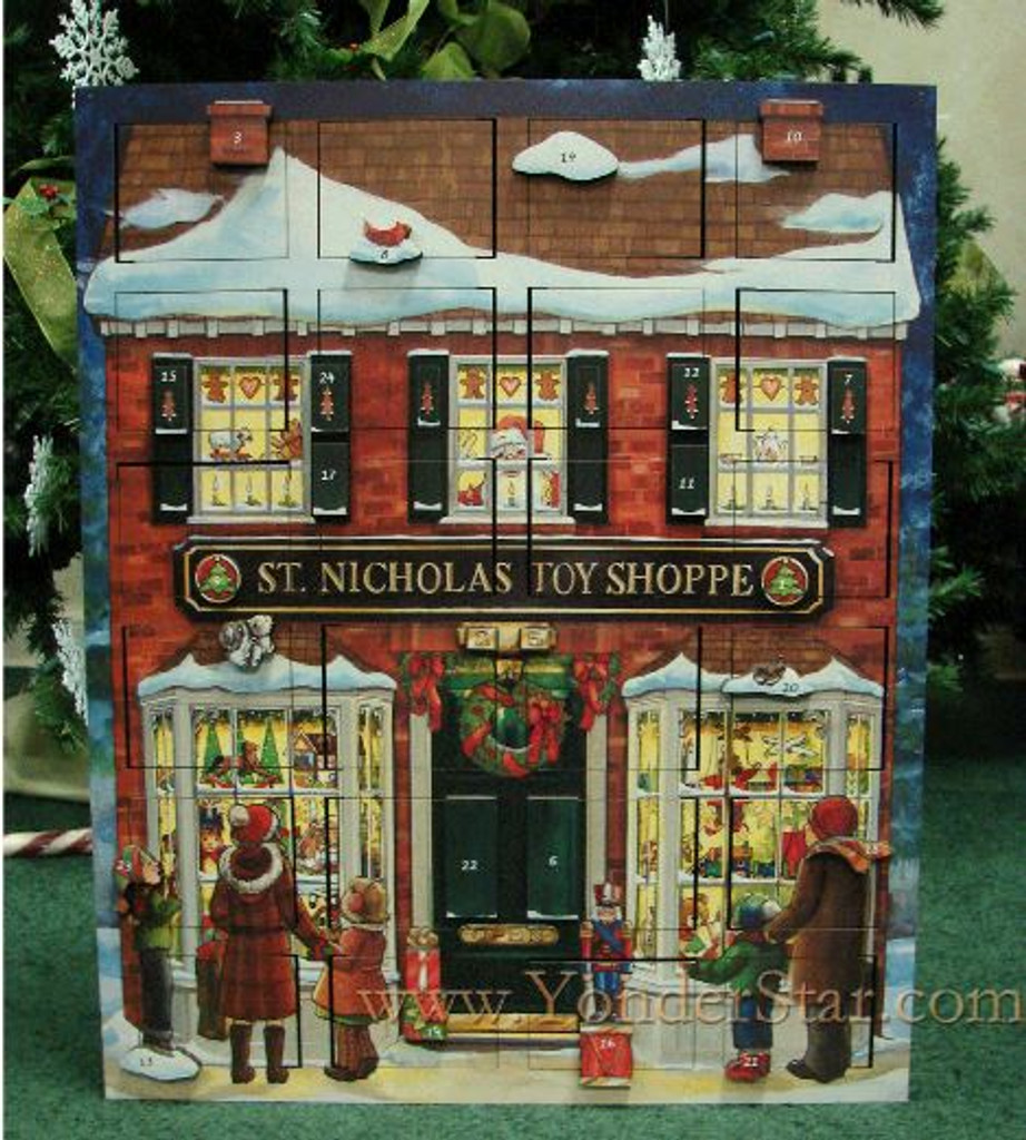 Musical St. Nicholas Toy Shoppe Wooden Advent Calendar - Pre-Order