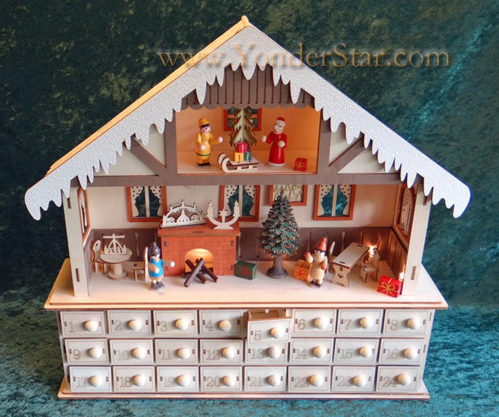 Lighted Wooden Advent Calendar Winter Chalet Advent