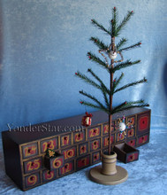 Wooden Advent Calendar Chest of Drawers w Tree and Ornaments - Leaves Warehouse within 1 Business Day*