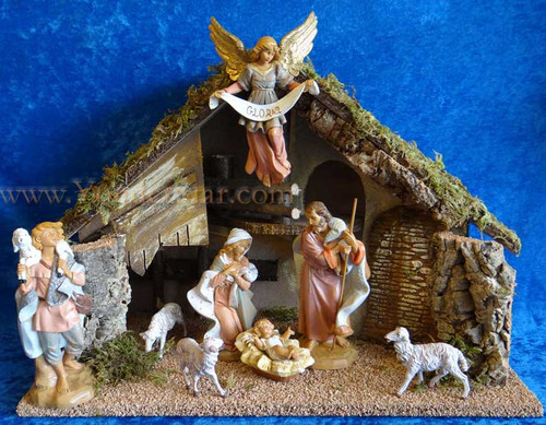"Fontanini Nativity Set 7.5"" with 14"" Wooden Stable 54829"