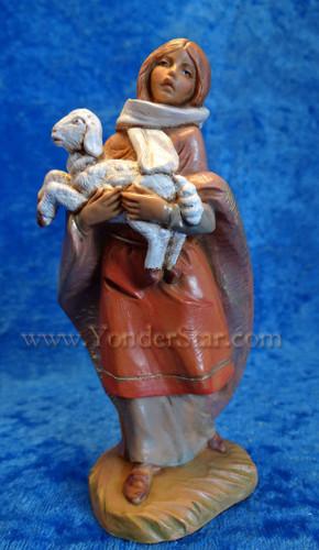 """Emma - 5"""" Fontanini Nativity Shepherdess w Lamb 54079"""