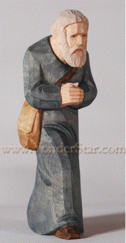 Old Man with Satchel - Huggler Nativity Woodcarving