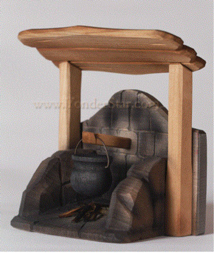 Hearth with Cauldron - Huggler Nativity Woodcarving