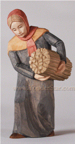 Woman with Bundle - Huggler Nativity Woodcarving