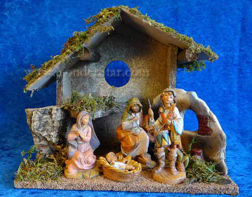 "5"" Fontanini Nativity Scene with Wooden Stable 54482"