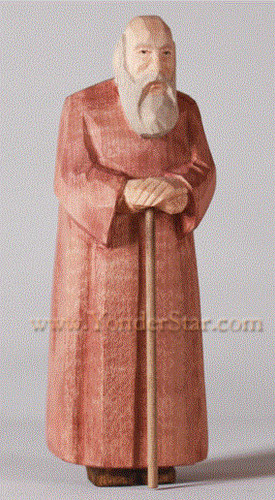 Old Man with Walking Stick - Huggler Nativity Woodcarving