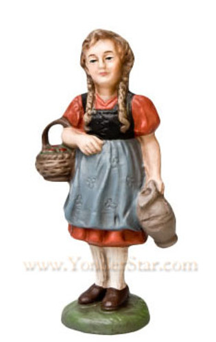 Marolin German Nativity Girl with Basket 12 cm Scale