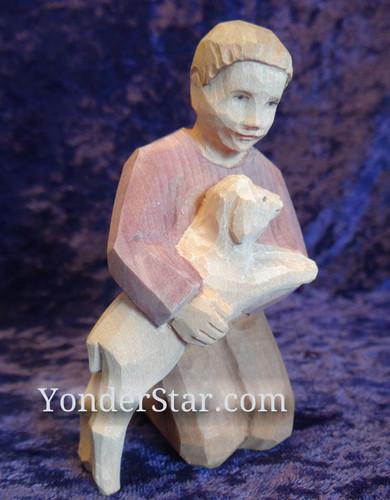 Boy Kneeling with Sheep - Huggler Nativity Woodcarving