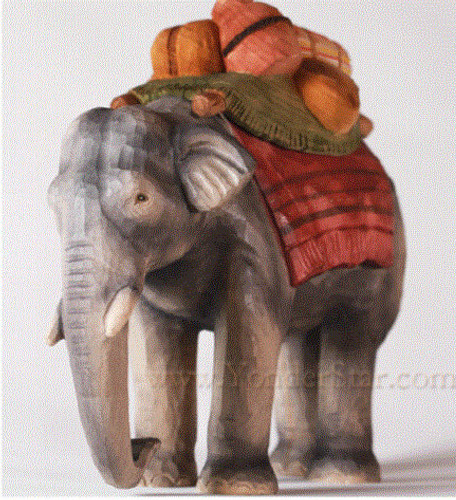 Elephant Standing with Pack - Huggler Nativity Woodcarving - 14cm Scale