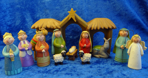 Colorful Happy Nativity Set