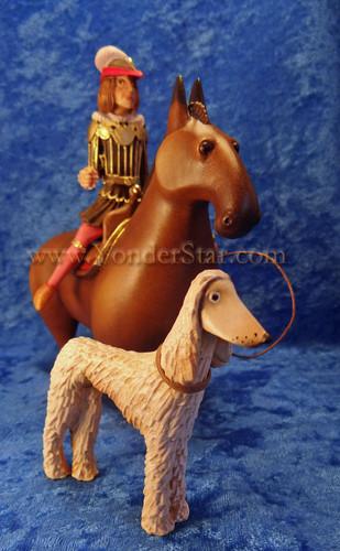 Kastlunger Horseman Riding Horse with Greyhound Kastlunger Wooden Nativity