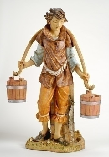 "Noah - 50"" Fontanini Nativity Villager w Buckets 52341"