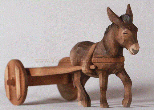 Donkey with Cart - Huggler Nativity Woodcarving - 14 cm Scale