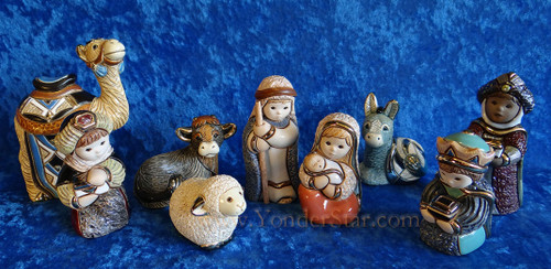 Rinconada Nativity Scene from Uruguay w platinum & 18 carat gold gilding 9 Pcs