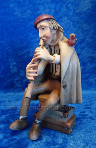 Kastlunger Traveler with Flute for LEPI Kastlunger Wooden Nativity