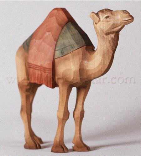 Camel Standing w Blanket - Huggler Nativity Woodcarving Switzerland