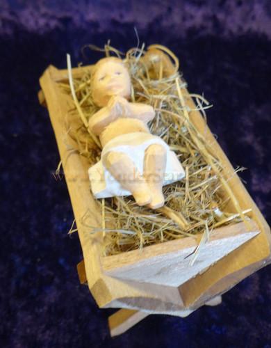 Baby Jesus in Hay Crib - Huggler Nativity Switzerland