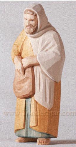 Shepherd with Satchel - Huggler Nativity Woodcarving