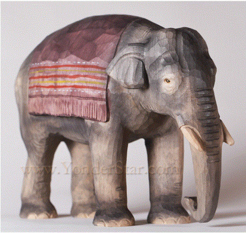 Elephant Standing with Blanket - Huggler Nativity Woodcarving - 14cm Scale
