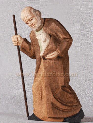 Old Shepherd with Lamb - Huggler Nativity Woodcarving