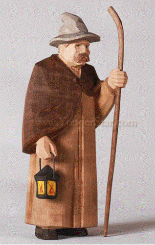 Shepherd with Lantern, Hat & Staff - Huggler Nativity Woodcarving