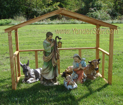 Outdoor Nativity Set with Wooden Manger