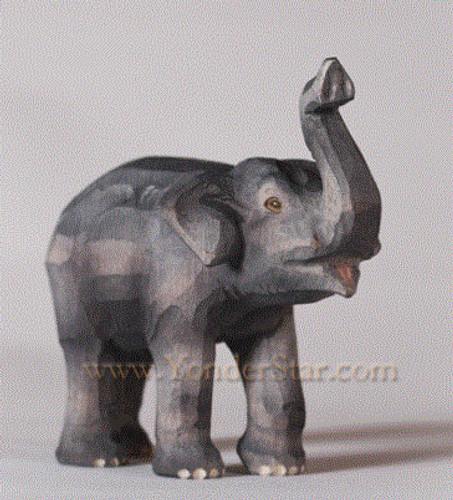 Baby Elephant Standing - Huggler Nativity Woodcarving