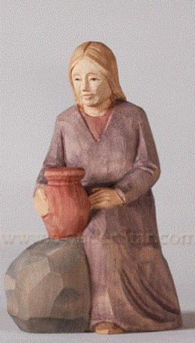 Woman Seated with Amphora - Huggler Nativity Woodcarving