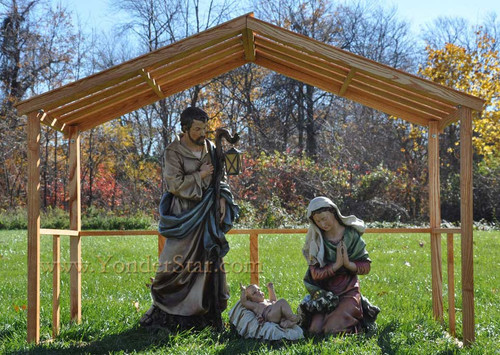 Large Outdoor Nativity Set With Wooden Stable