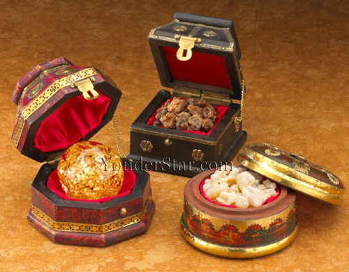 Three Presentation Chests of Real Gold, Frankincense, and Myrrh - Standard Size The Gift of Kings