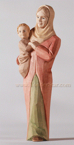 Woman with Baby - Huggler Nativity Woodcarving