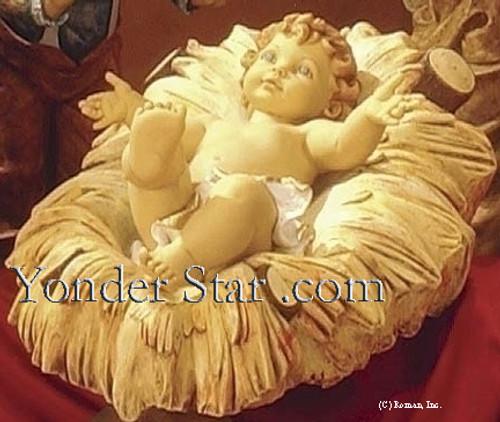"Baby Jesus w Crib - 50"" Scale Fontanini Nativity Holy Family Figure 52313"