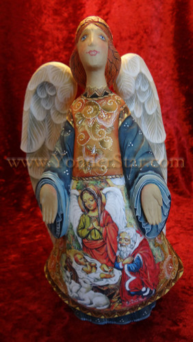 "Miraculous Blessing Angel -  9"" G Debrekht Illustrated Nativity"