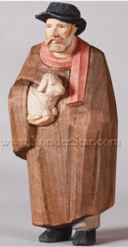 Shepherd with Cape & Lamb - Huggler Nativity Woodcarving