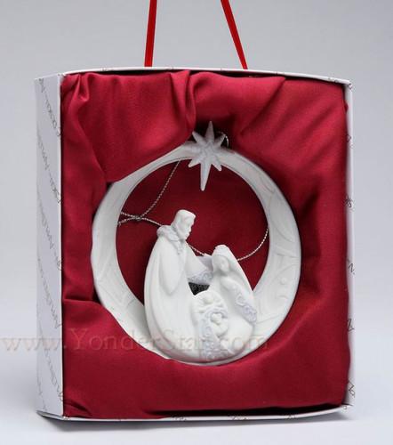 Nativity Scene Ornament White Porcelain