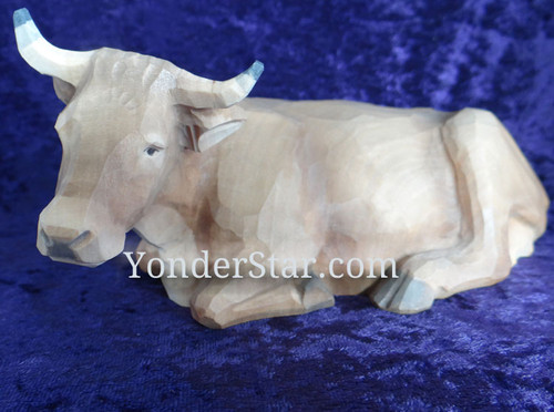 Seated Ox Facing Left - Huggler Nativity Woodcarving