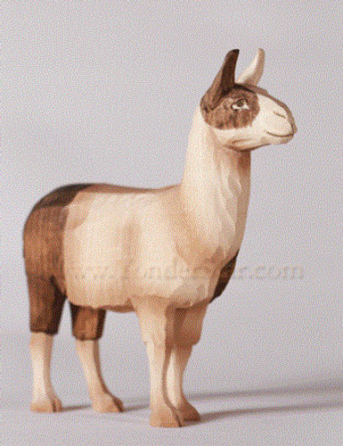 Llama Standing - Huggler Nativity Woodcarving - 14cm Scale