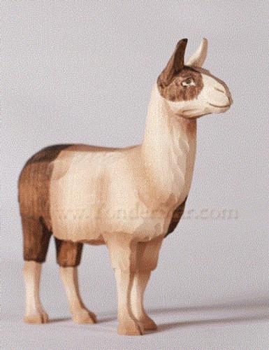 Llama Standing - Huggler Nativity Woodcarving - 14cm Scale