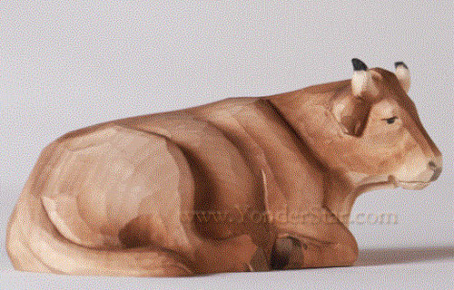 Seated Ox - Huggler Nativity Woodcarving Switzerland