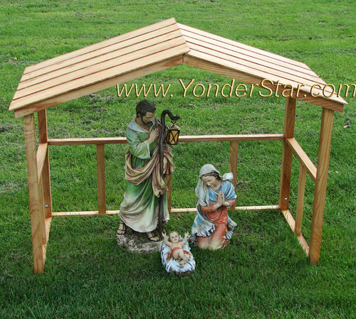 Outdoor Nativity Holy Family with Wooden Manger / Stable
