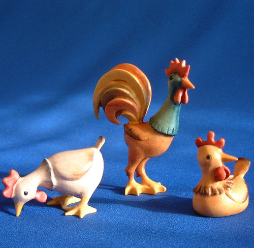 Kastlunger Hens and Rooster for LEPI Kastlunger Wooden Nativity