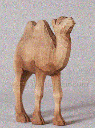 Young Camel Standing with Two Humps - Huggler Nativity Woodcarving - 14cm Scale
