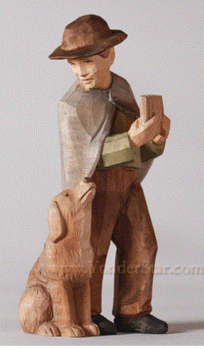 Man with Book and Dog - Huggler Nativity Woodcarving